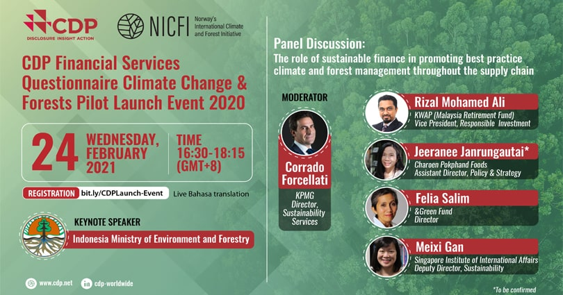 CDP Launch Event for CDP Financial Services Climate Change and Forests Pilot Results 2020